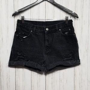 Harley Davidson black cut off high rise shorts